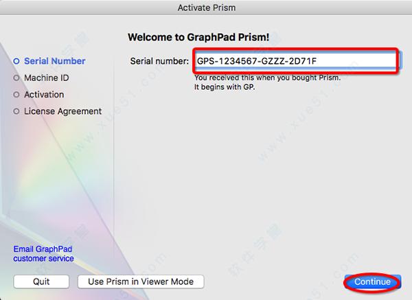 시리얼넘버 7 그래프패드 프리즘